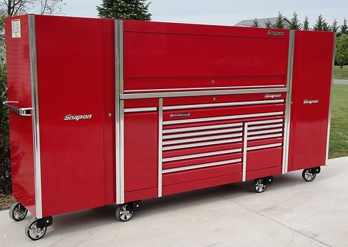 snap on 12 foot epiq triple bank tool box, hutch stainless & 2 ...
