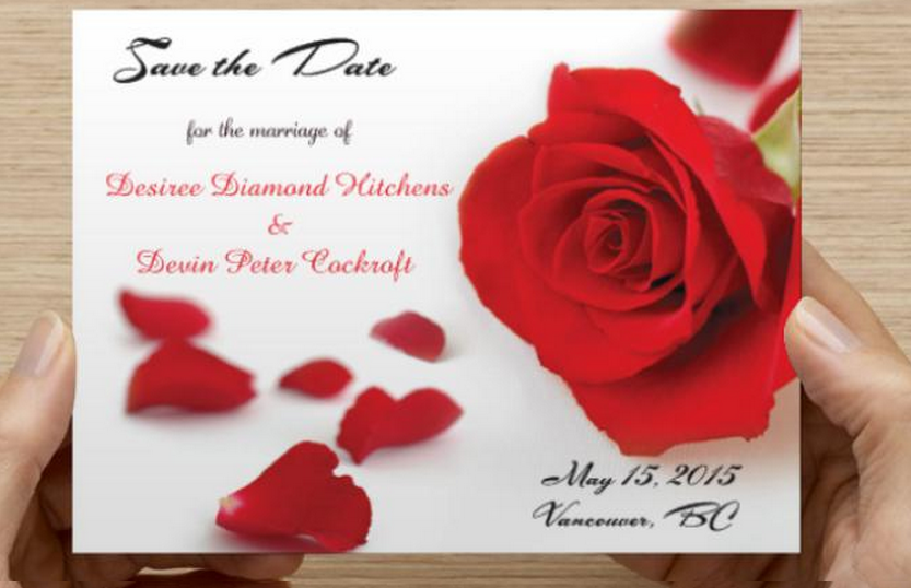 An Up Close Shot Of Desirees Save The Dates Www Katsavagedesigns Com Red Rose Savethedate Invitations