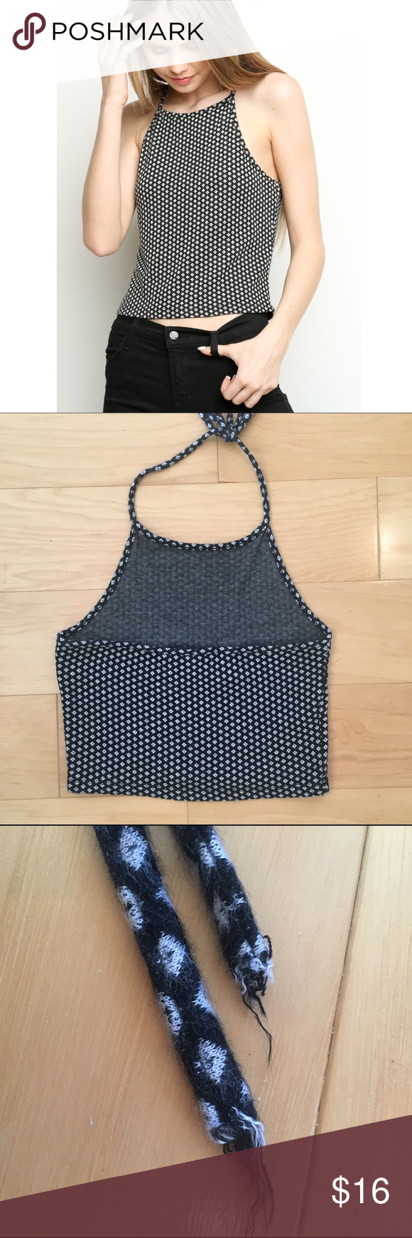 Brandy Melville Donilyn Tank Diamonds Brandy tank in great condition. Great for fall and completing your back to school look. Please not the edges of the halter strings are a bit frayed (please see pic). One size fits all! Brandy Melville Tops Tank Tops
