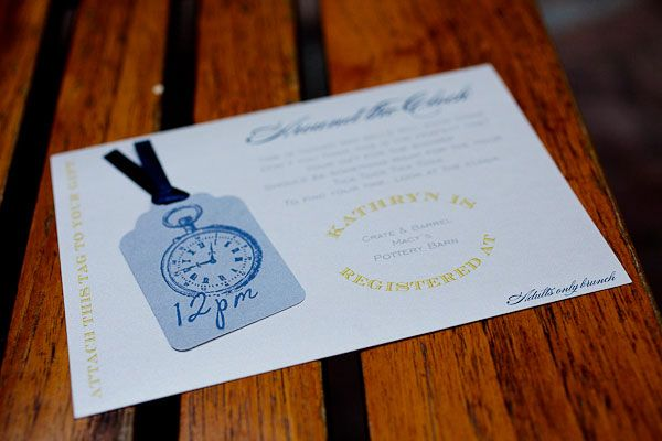 around the clock shower theme good idea about how to address envelopes for thank you cards