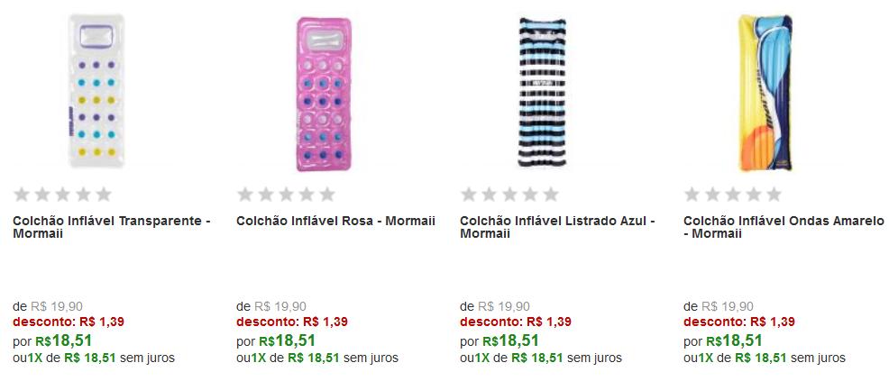 Colchão Inflável para Piscina Mormaii - 5 modelos disponiveis << R$ 1851 >>