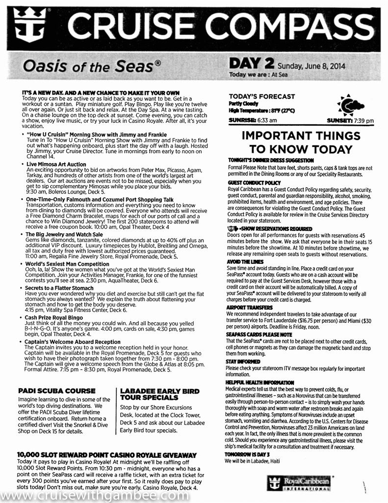 Oasis Of The Seas Cruise Compass Daily Cruise Ships Pinterest