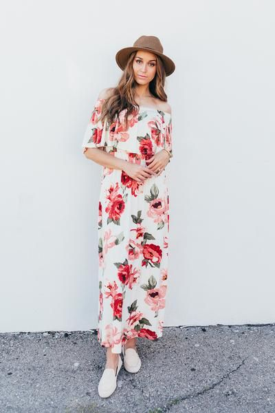 cecf4a1cd8 Ivory Off The Shoulder Floral Ruffle Maxi Dress in 2018