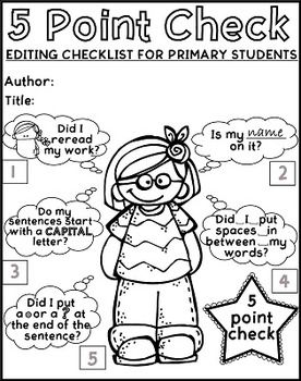 Free Printable Editing Checklist for Primary writers, with