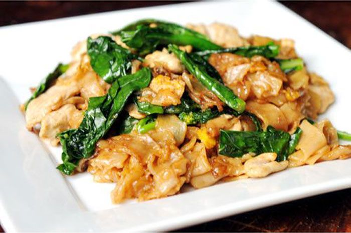 Pad See Ew:  Ingredients:    8 ounces fresh wide, flat rice noodles  1/2 of a chicken breast, sliced thinly  2 cups Chinese broccoli, chopped coarsely  1 large egg or 2 small eggs  2 tablespoons sweet dark soy sauce  2 tablespoons oyster sauce  2 teaspoons thin soy sauce  2 teaspoons sugar  2 teaspoons vinegar  2 cloves garlic, chopped