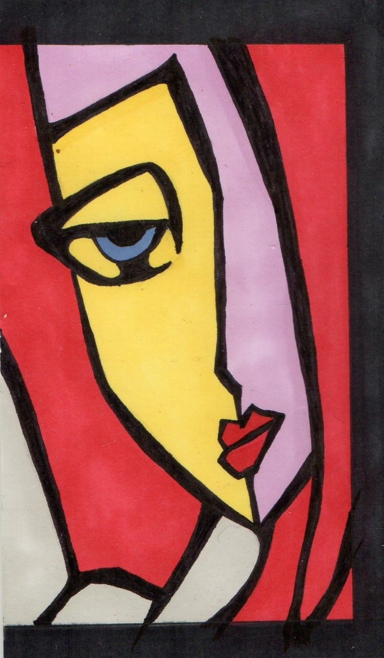 1er Essais Dessins Aux Marqueurs Alcool Peinture Picasso Portrait Abstrait Peinture