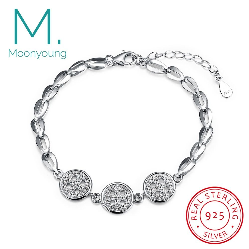 Genuine real sterling silver bracelet cool buttons aaa cz chain