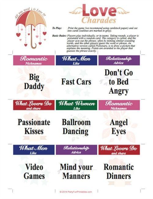 105 Printable Love Charades Cards In 5 Categories Nicknames Relationship Advice What Do And Share Women Like Men