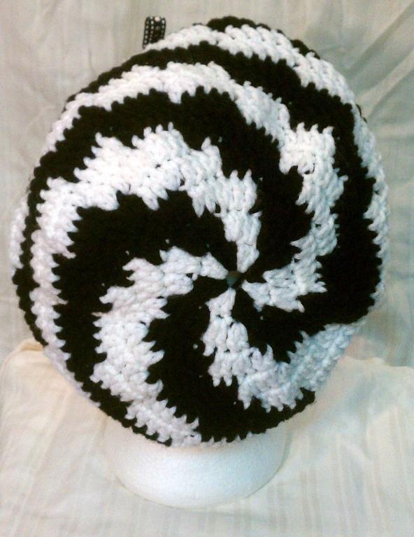Black and White Spiral Stripes Slouchy - via @Craftsy   Crochet ...