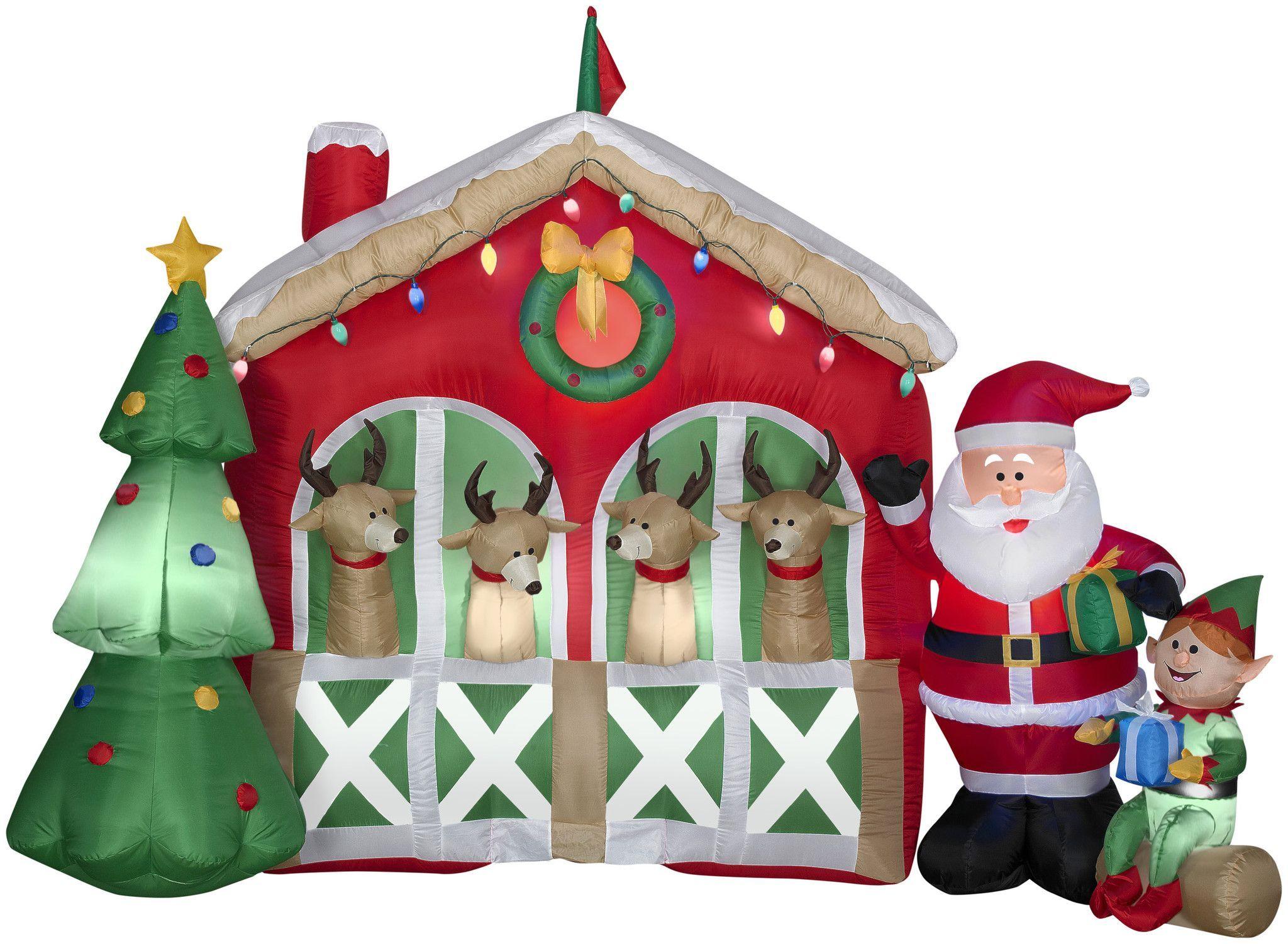 6 Airblown Reindeer Stable Scene Christmas Inflatable