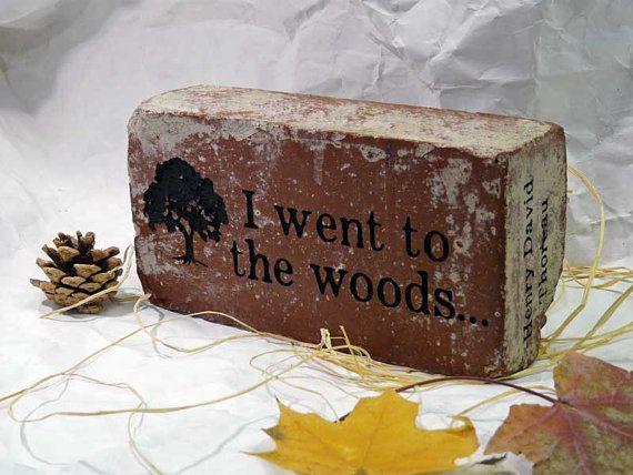 I Went To The Woods ... Henry Thoreau Quotation Engraved Red Brick