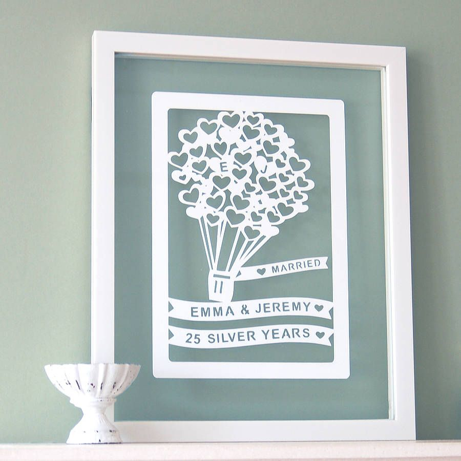 Gifts For Paper Wedding Anniversary: Personalised 1st Anniversary Paper Cut Art