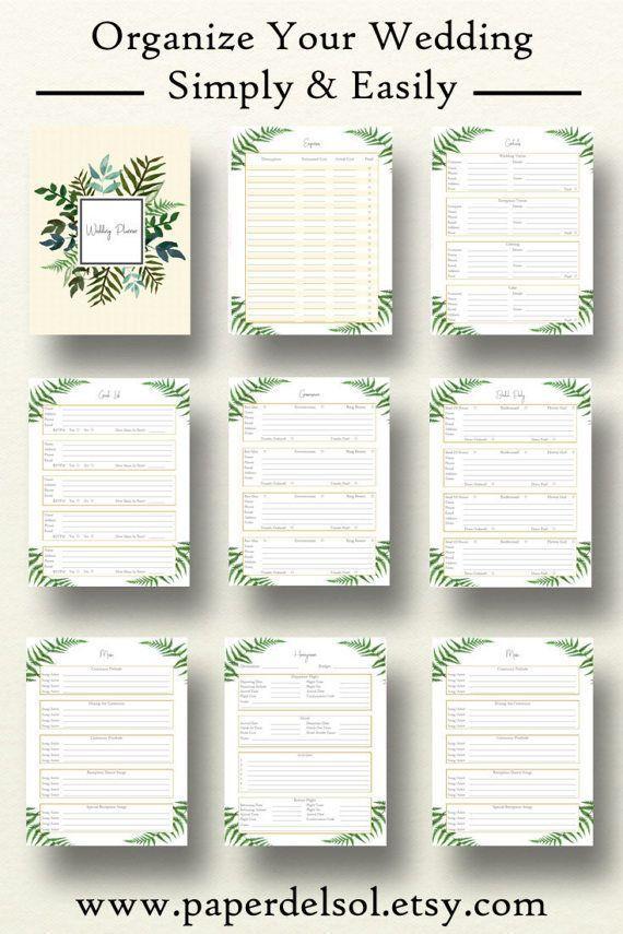 Wedding Planner Book Printable Planning Binder Printables Checklist Letter Size Instant Download