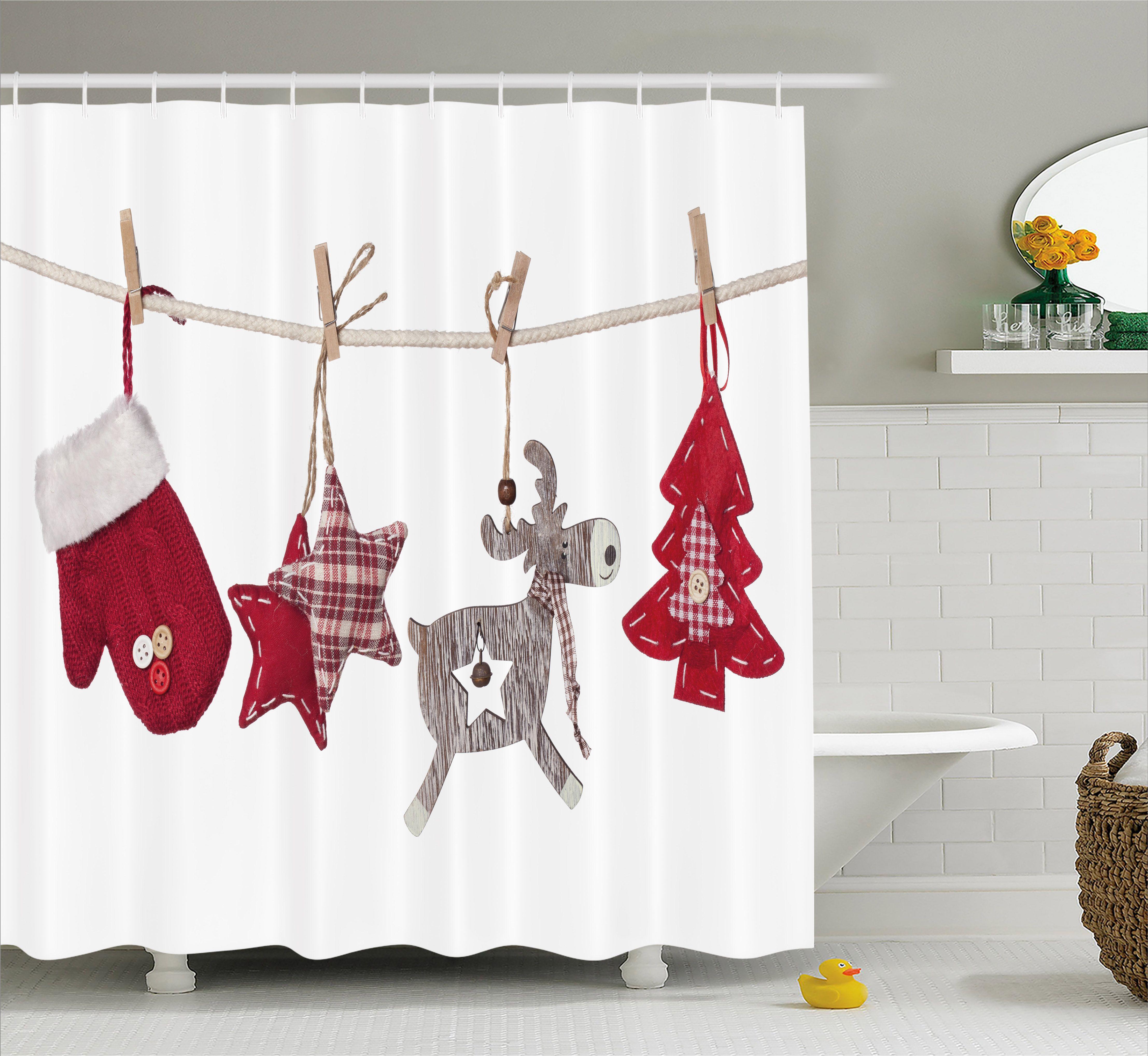 Christmas Shower Curtain Socks Hanging Christmas Shower Curtains