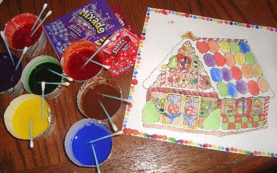 Gingerbread craft- make your own scratch and sniff paint, and paint in coloring sheets of gingerbread houses that actually smell like ginger, and the candies smell like candy!