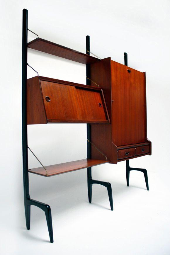 Louis van Teeffelen; Teak & Brass Free-Standing Wall Unit for Webe ...