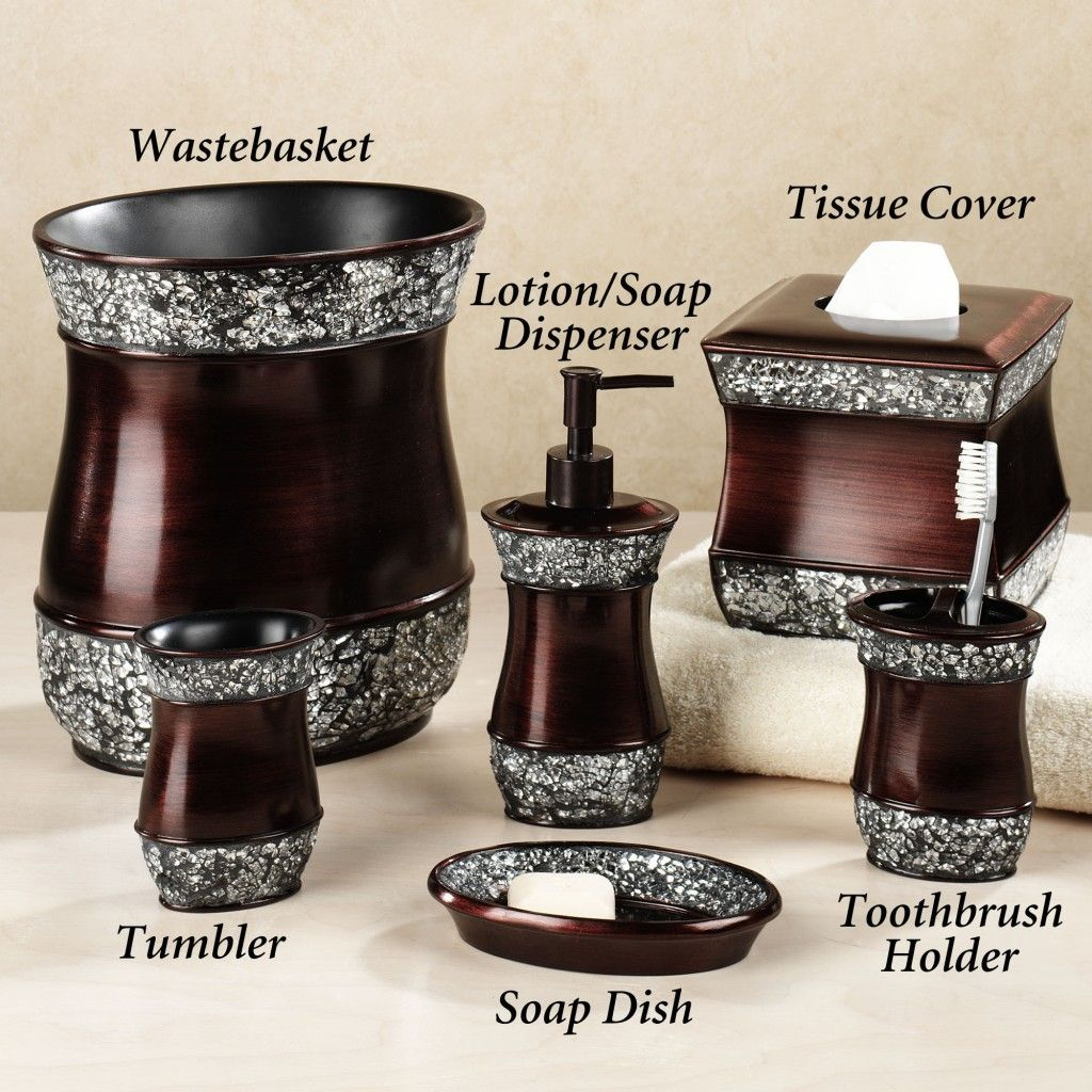 Luxury Bathroom Accessories Sets With Brown Color And Broken Glass - Home goods bathroom decor for bathroom decor ideas
