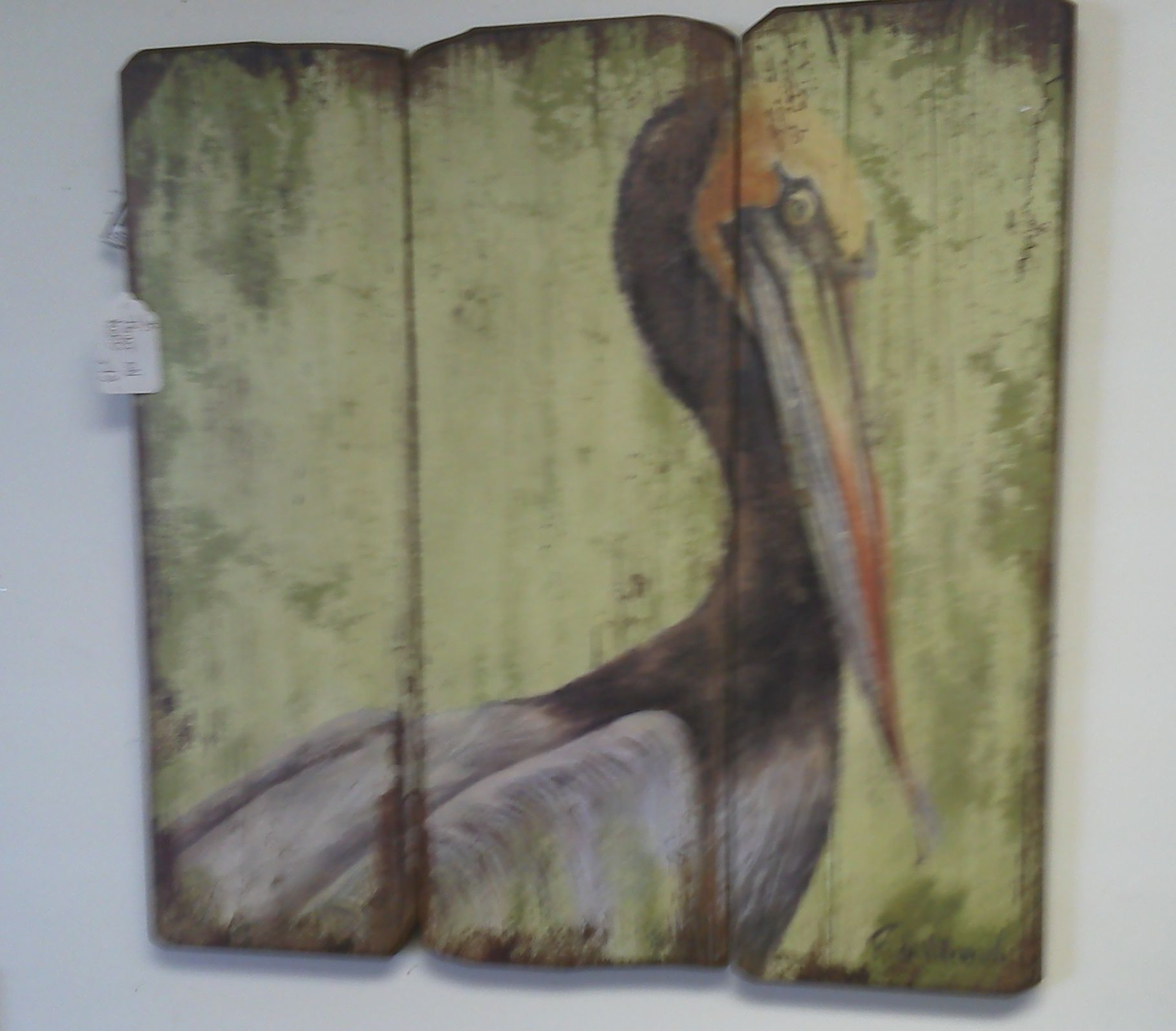 Painted Pelican On Reclaimed Wood Found