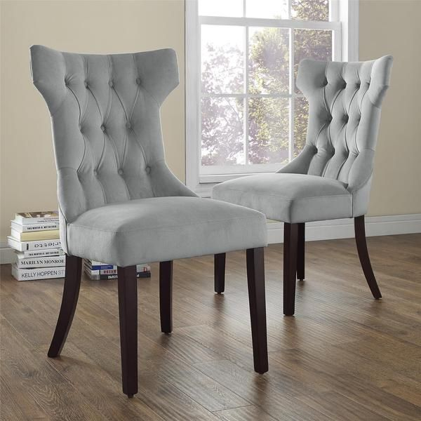 Avenue Greene Clairborne Grey Tufted Dining Chair Set Of 2 Fair Grey Dining Room Chair Covers Decorating Inspiration