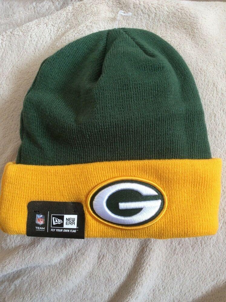 Nwt Green Bay Packers Football Beanie Cap Knit Hat Green Yellow Nfl New Era Newera Beanie Green Bay Packers Football Packers Football Flex Fit Hats