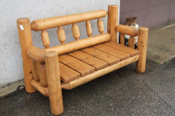 Cedar Log Furniture Plans Log Bench Outdoor Bench With Cedar Seat