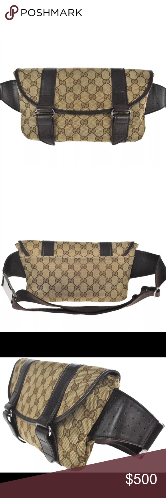 191e48135c3d Authentic Gucci waist bag/crossbody brown canvas Authentic Gucci waste bag/ fanny back/
