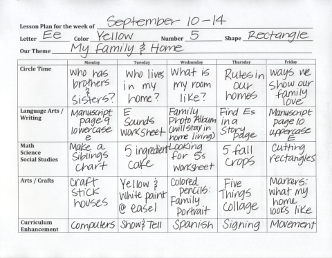 PreK Lesson Plan Sample Click On The RED SENTENCE At The - Pre k weekly lesson plan template