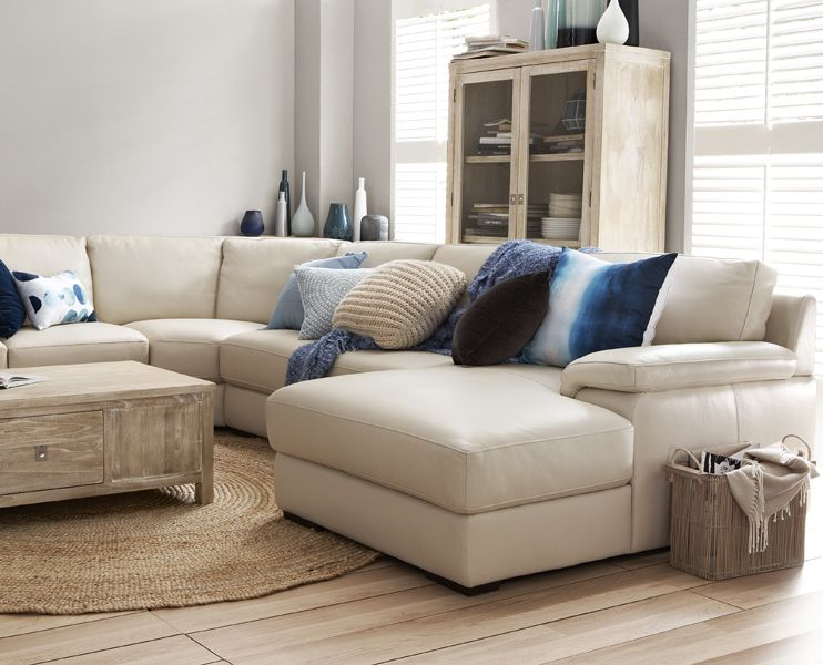 freedom monopoli 4 piece leather modular sofa in universal leather
