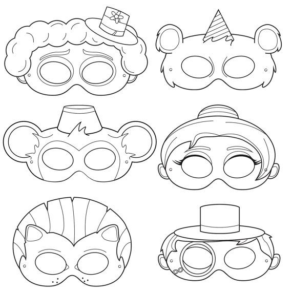 Circus Printable Coloring Masks, clown mask, bear mask