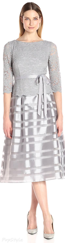 18eb0416602 Alex Evenings Tea-Length A-Line Dress with Tie Belt