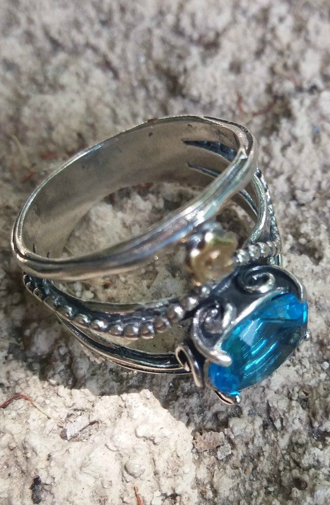 Bohemian chic silver ring Bluenoemi ring set cz blue topaz romantic ring for woman sterling silver jewelry