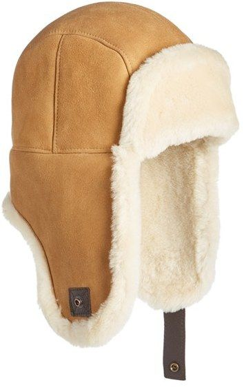 665947f74bc Men s Ugg Genuine Shearling Trapper Hat Leather Mask