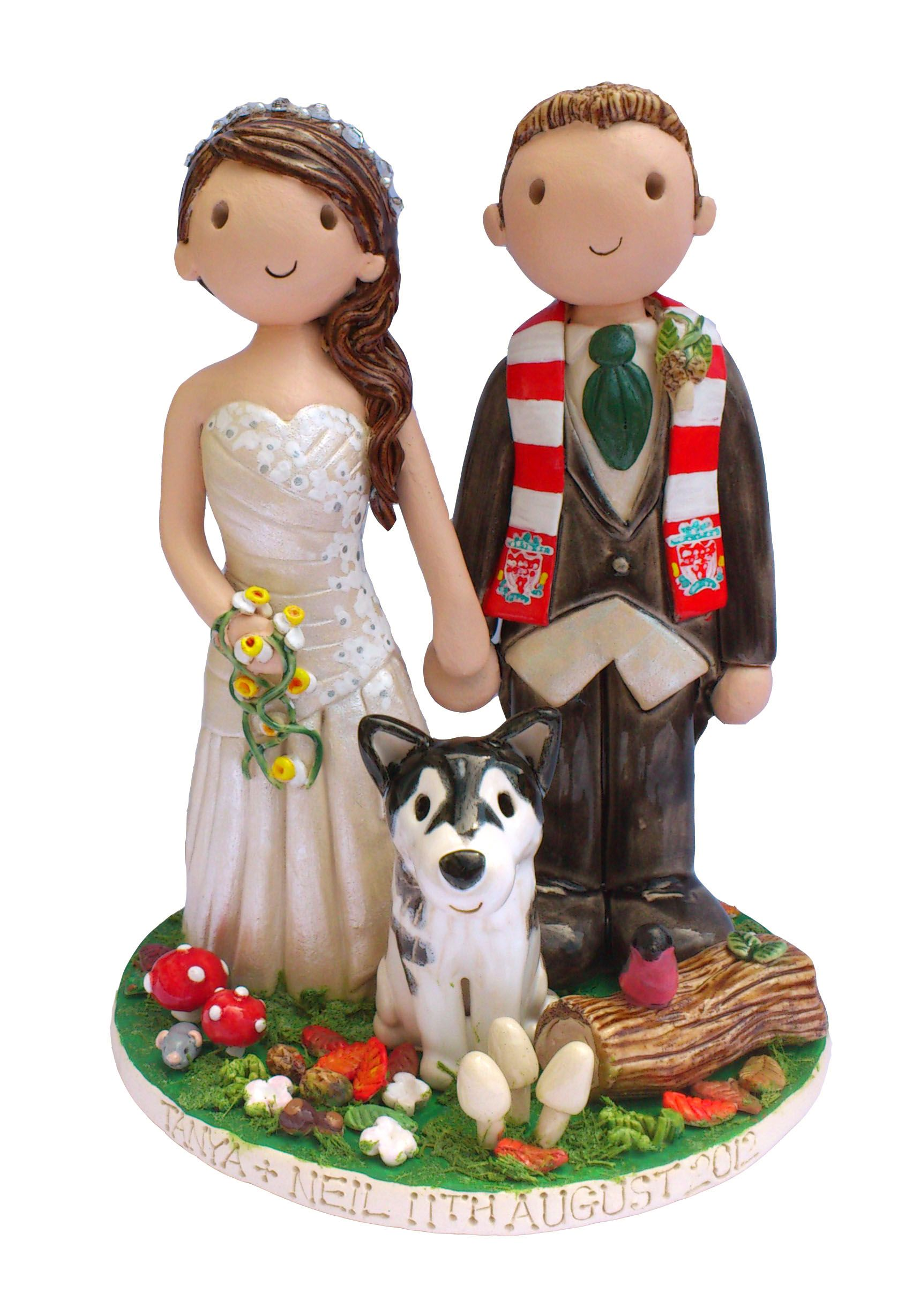 Custom cake topper with pets personalized wedding cake