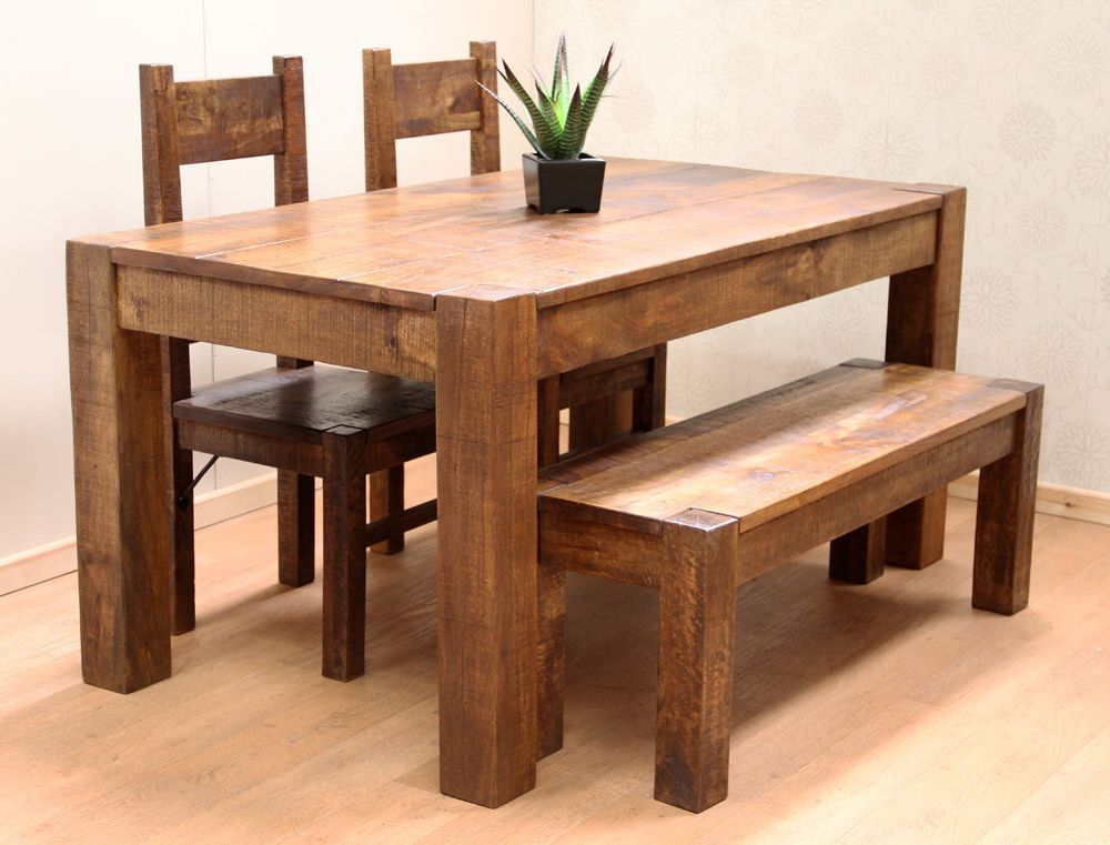 Rustic Farm Style Solid Indian Mango 120x90cm Table Set with 2 ...