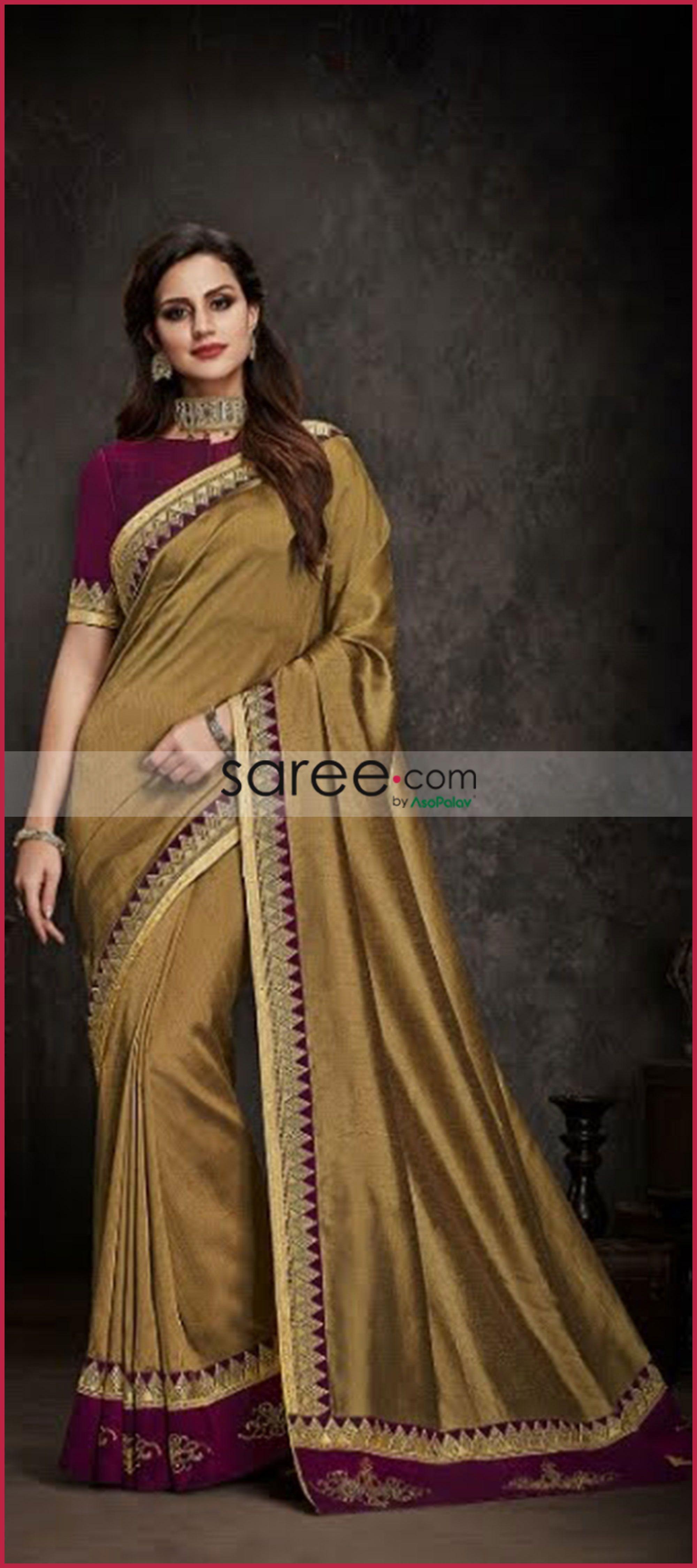 b904e6abe0 Golden Satin Silk Plain Saree with Designer Blouse | Indian Sarees ...