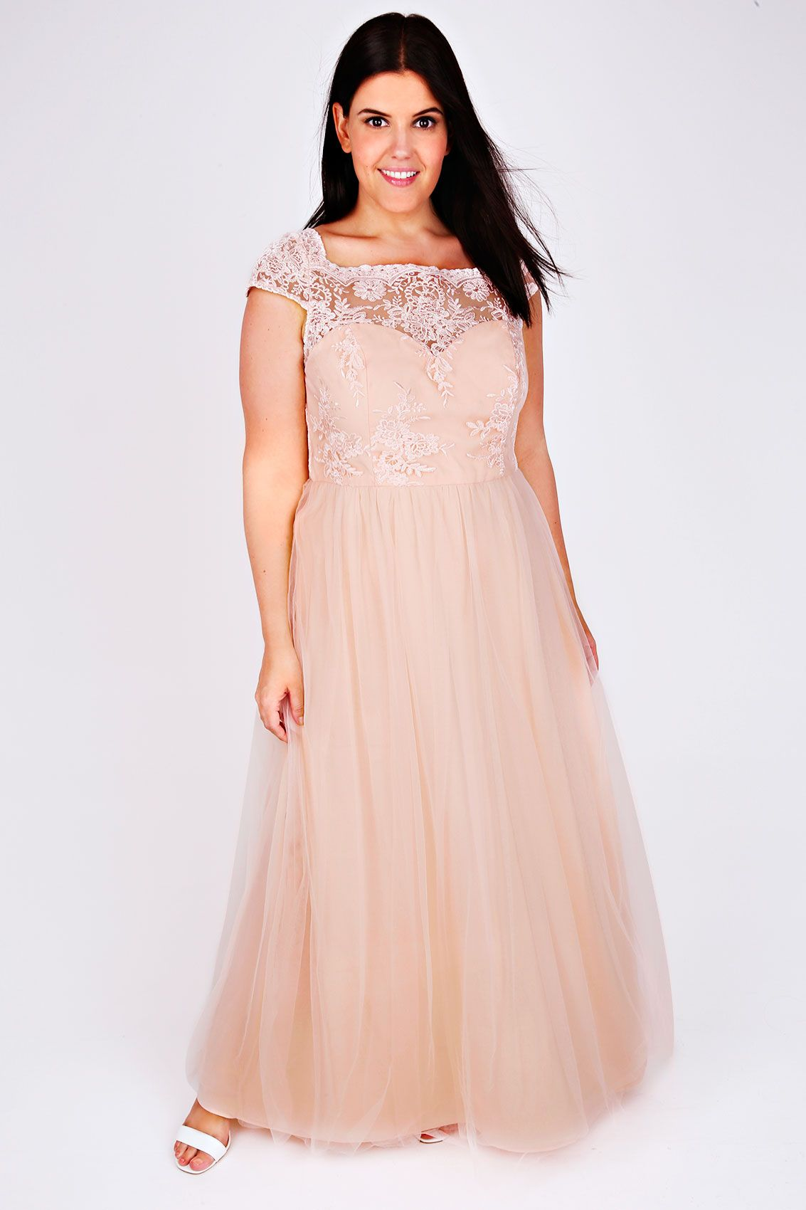 CHI CHI LONDON Nude Embroidered Party Dress | Plus Size Dresses ...