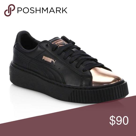 83f0b5d74215 Rose Gold · Puma Leather Basket Platform Metallic Sneakers Puma Leather  Basket Platform Metallic Sneakers in Puma Black-