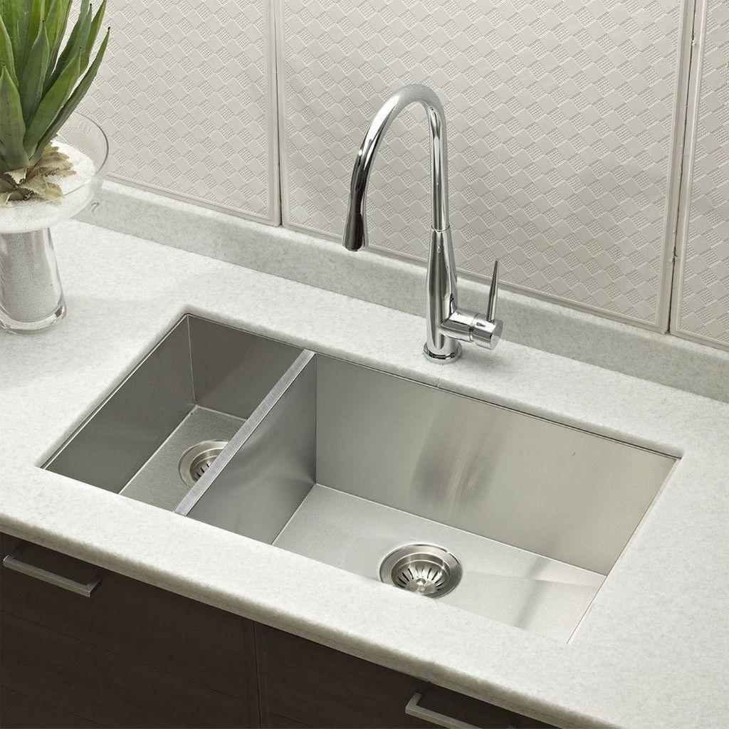 30 Impressive Stainless Steel Kitchen Table Design Ideas Trenduhome Double Bowl Kitchen Sink Sink Stainless Steel Kitchen Table