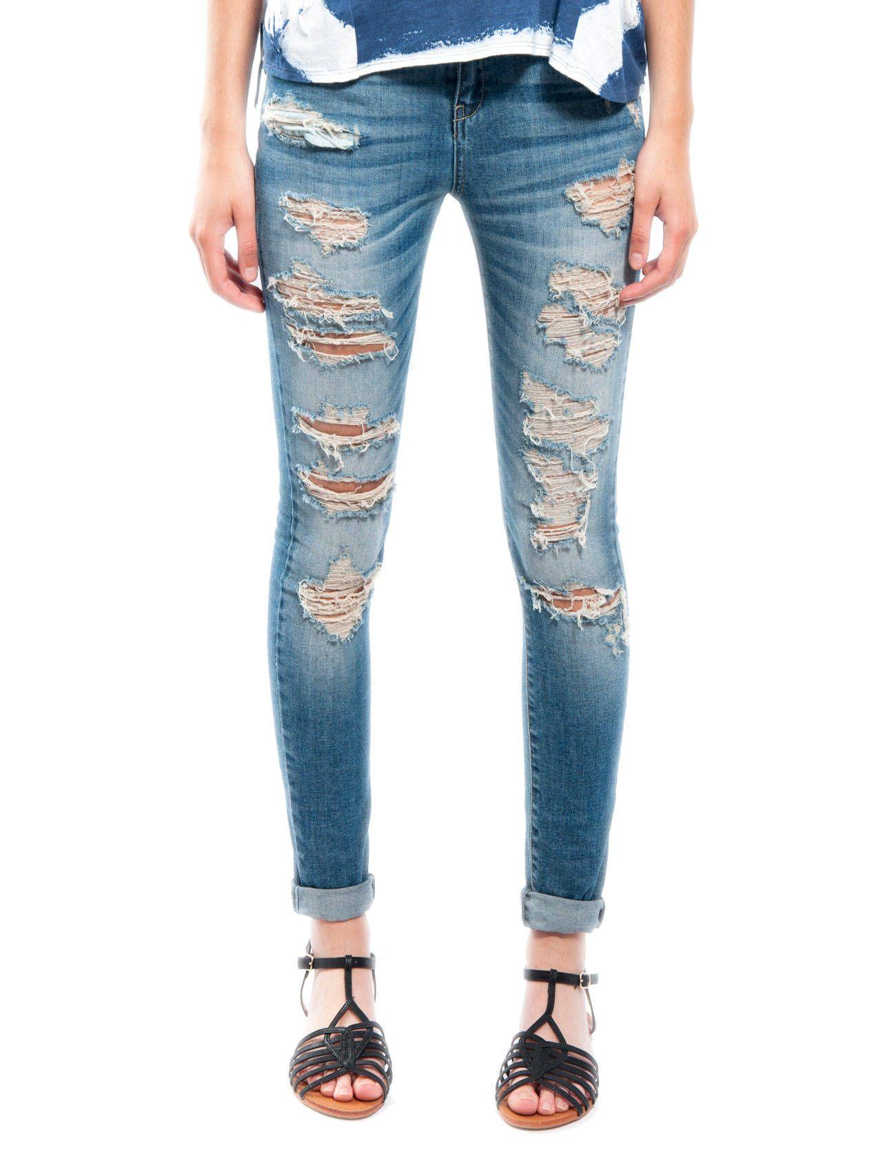 #Pantalón jeans straight rotos desgaste Shana 24,99€ www.shana.com #fashion #clothes #ropa