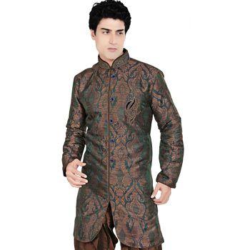 Brown and Green Shot Tone Banarasi Brocade Readymade Indowestern Suit