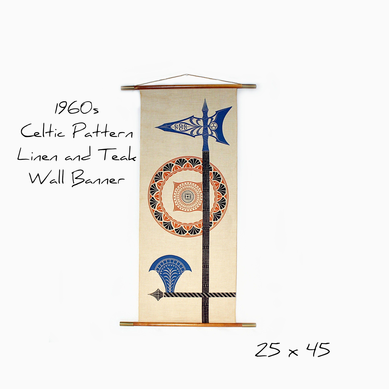 Vintage mid century wall art celtic art printed linen wall