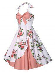 9acdf734ce Vintage Halter Floral Print Dress - PINK XL Mobile