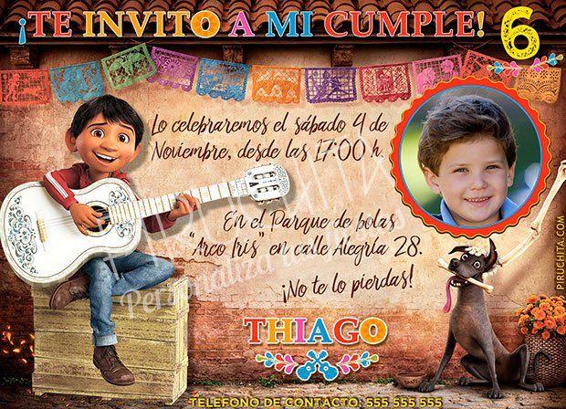 Invitación Cumpleaños Coco 02 Con Foto Digital Imprimible