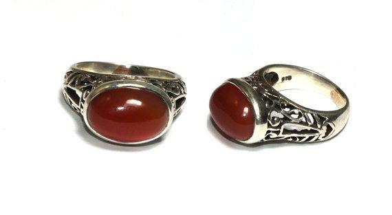 925 Silver Natural Carnelian Gemstone Ring / by gemsnjewelryworld
