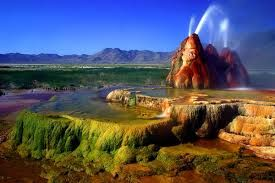 Fly Geyser, also known as Fly Ranch Geyser is a small geothermal geyser that is located approximately 20 miles (32 km) north of Gerlach in Washoe County, Nevada. The Geyser is located in Hualapai Flat, about 1/3 of a mile from State Route 34. It is large enough to be seen from the road