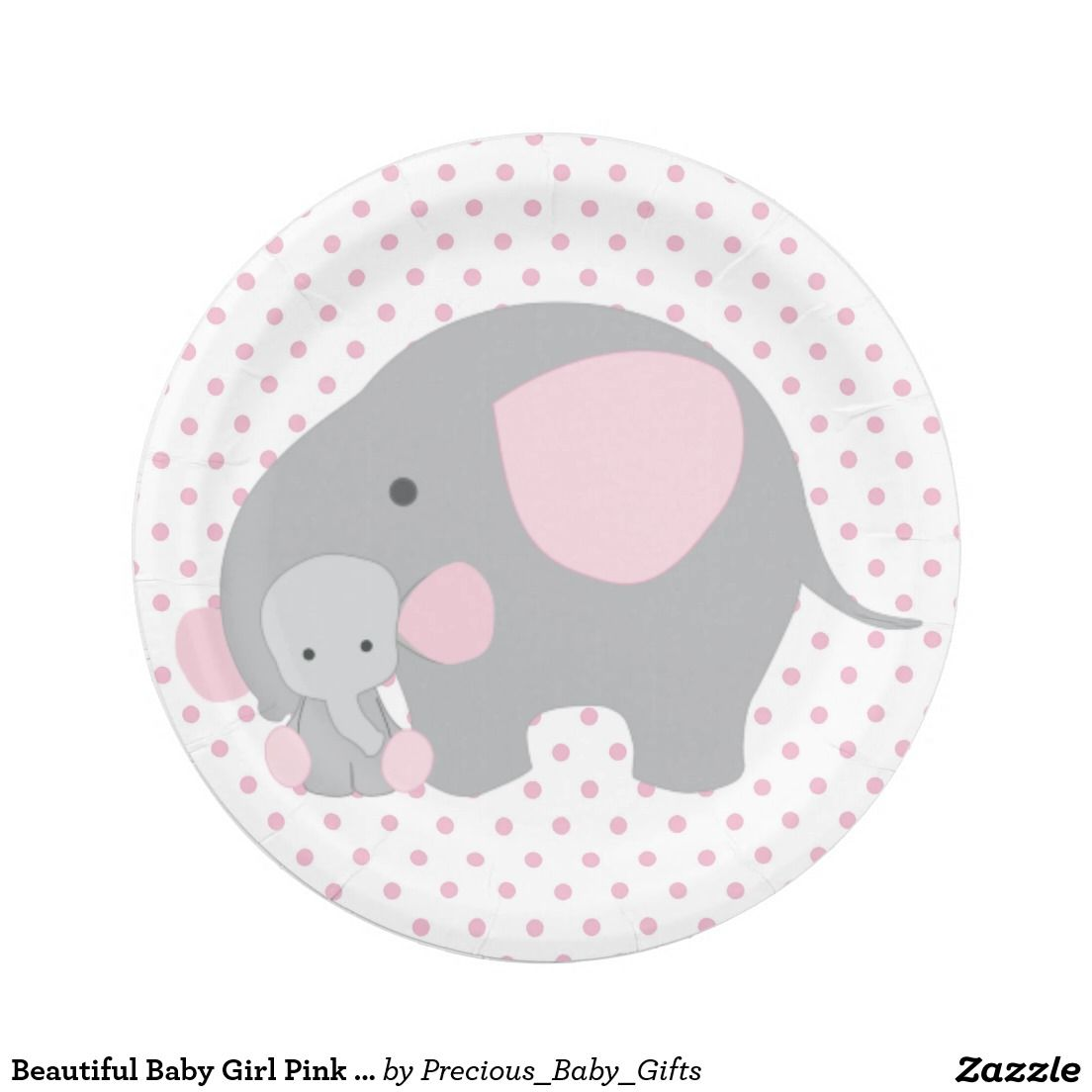 Beautiful baby girl pink elephant paper plate kristenshareboard beautiful baby girl pink elephant paper plate negle Image collections