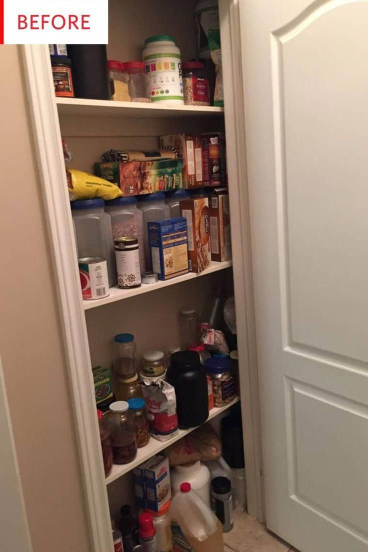 This pantry is very well organized despite it's small size. The trick? Getting plenty of containers and ideas from the dollar store. This budget friendly before and after shows that a small pantry can do the same work as a larger pantry if it is organized well. #bathroomorganization #largepantryideas