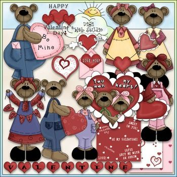 Clip Art and Digital Stamps Download with 12 Color Images, 3 large backgrounds (size 1500x1500) and 12 Black and White Images with a white fill (as shown in the preview).  All images are high quality 300 dpi for beautiful printing results.  Formats: transparent PNG and non-transparent JPG Includes: Valentine's Day bears, word art, heart, Valentine border, Valentine card in an envolope.