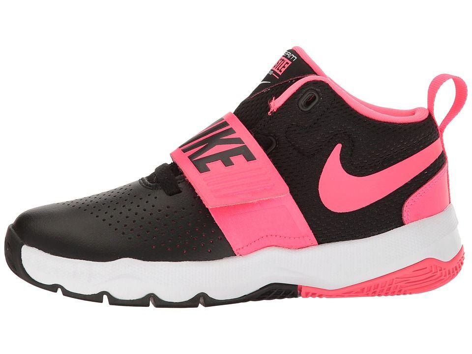 info for e07c6 ee39b Nike Kids Team Hustle D8 (Little Kid) Girls Shoes Black Racer Pink White