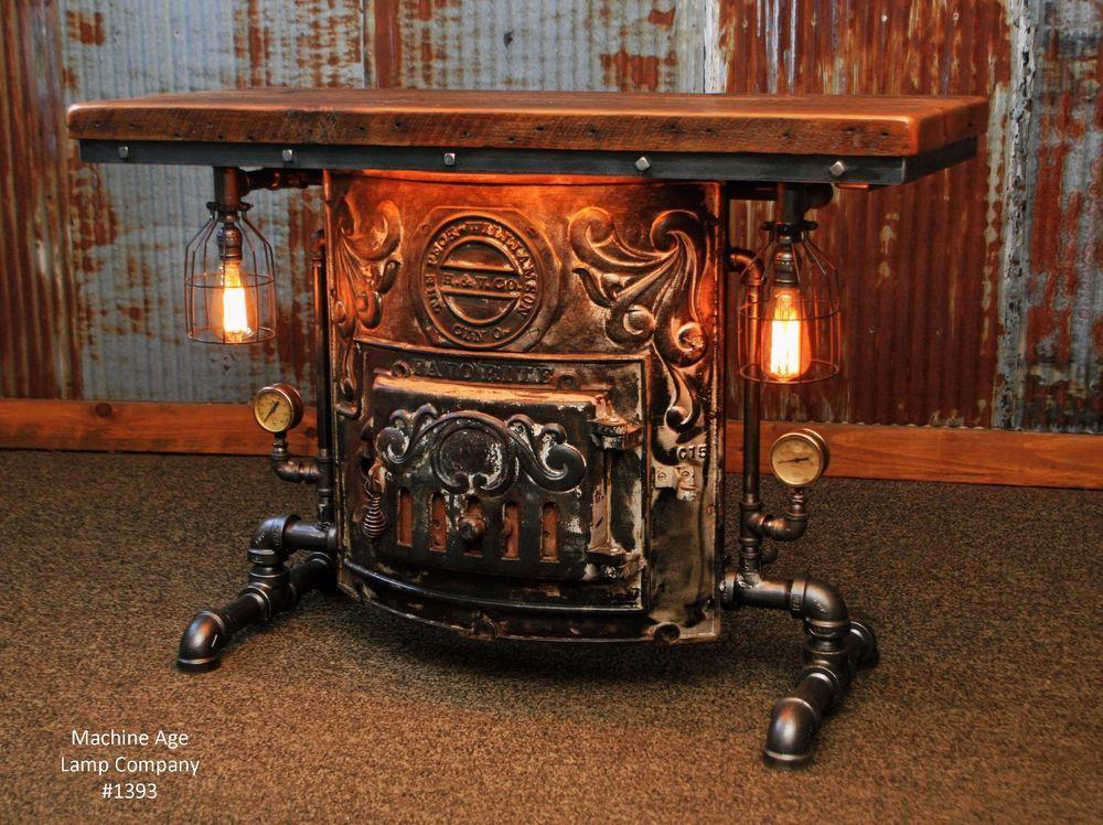 Steampunk Lamp Industrial Machine Age Steam Gauge Table Sofa Side